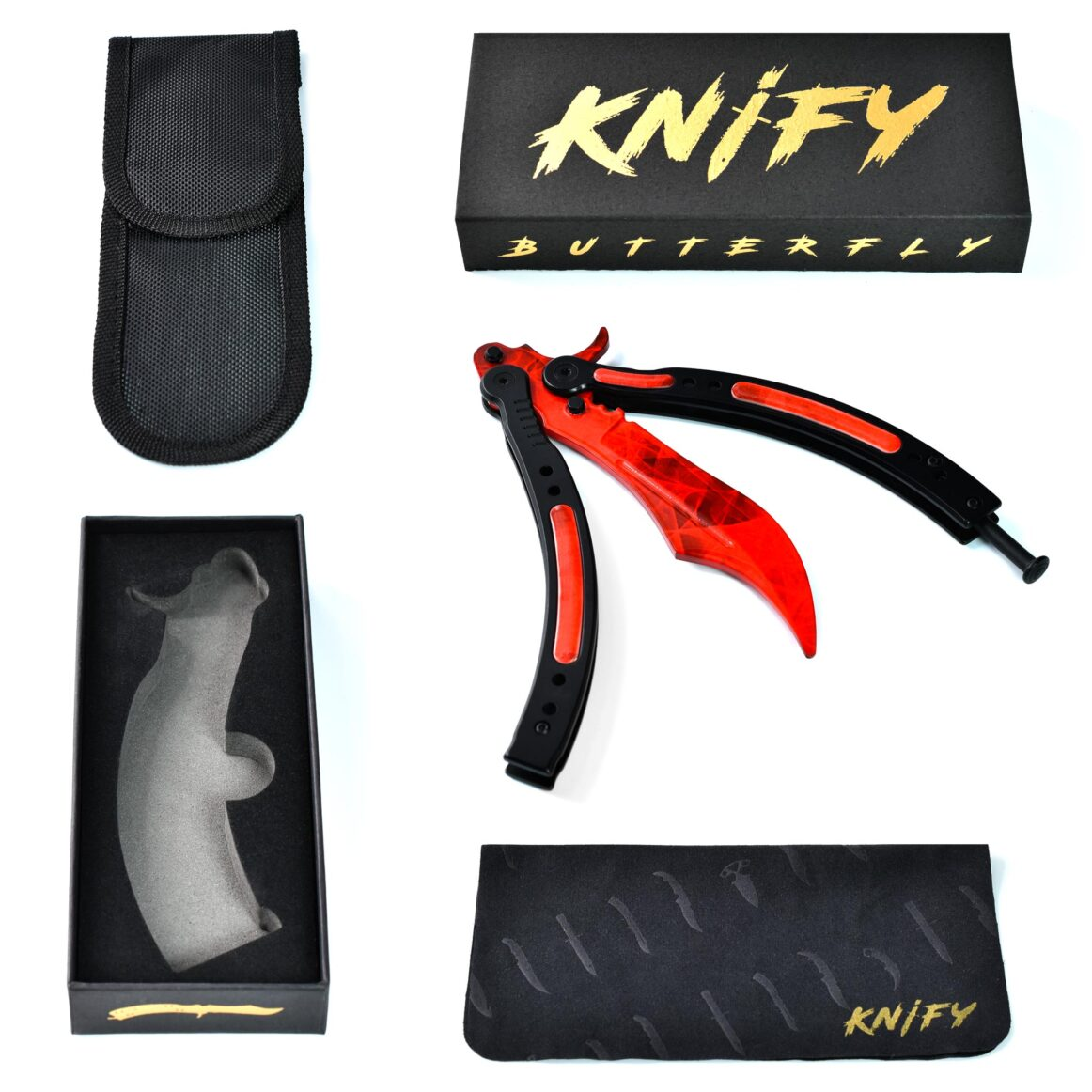 Couteau CS:GO IRL Butterfly Doppler Ruby - Vrai Couteau Papillon Doppler Ruby