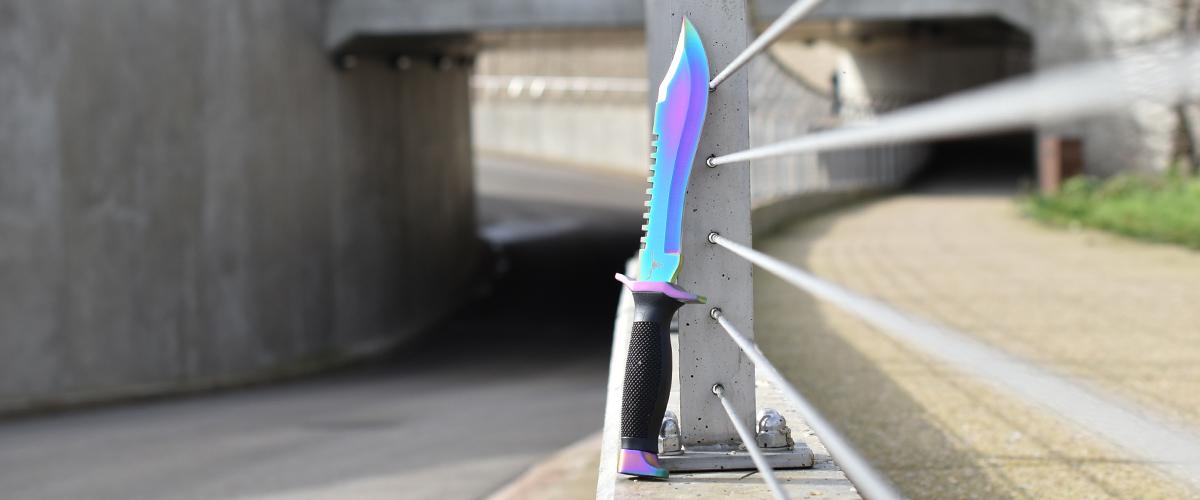 Banner Couteau CS:GO IRL Bowie Fade - Vrai Couteau Bowie Dégradé