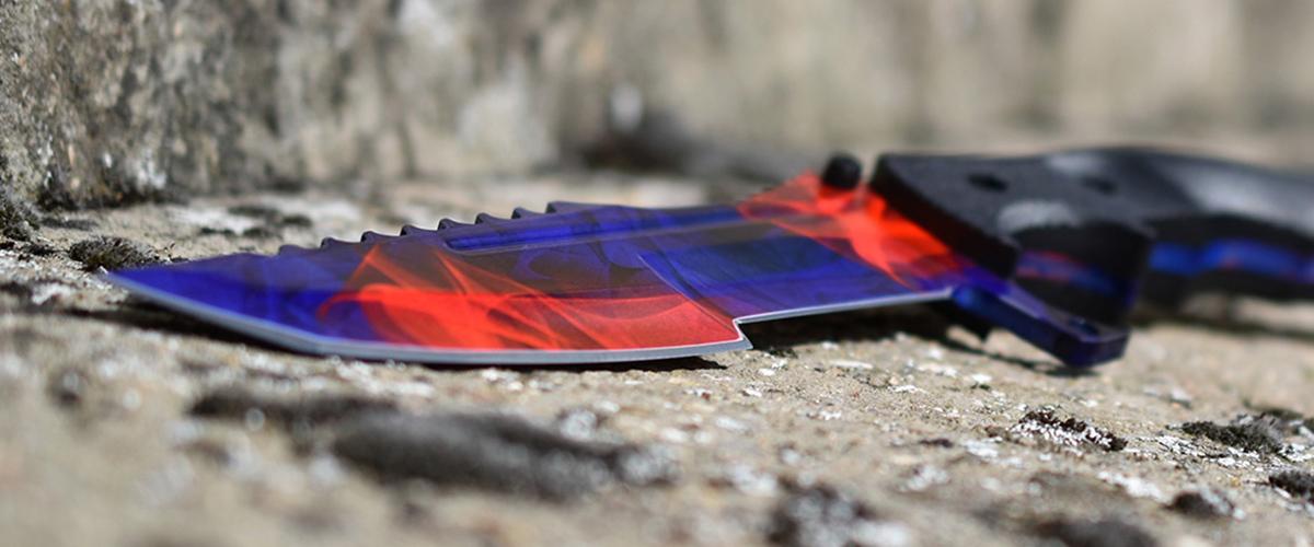 Couteau CS:GO IRL Huntsman Doppler Phase 2 - Vrai Couteau de chasseur Toile Pourpre