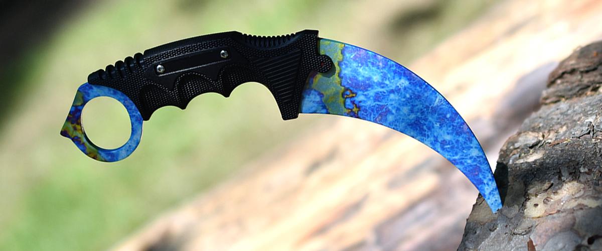 Couteau CS:GO IRL Karambit Case Hardened - Vrai Couteau Karambit Cémenté